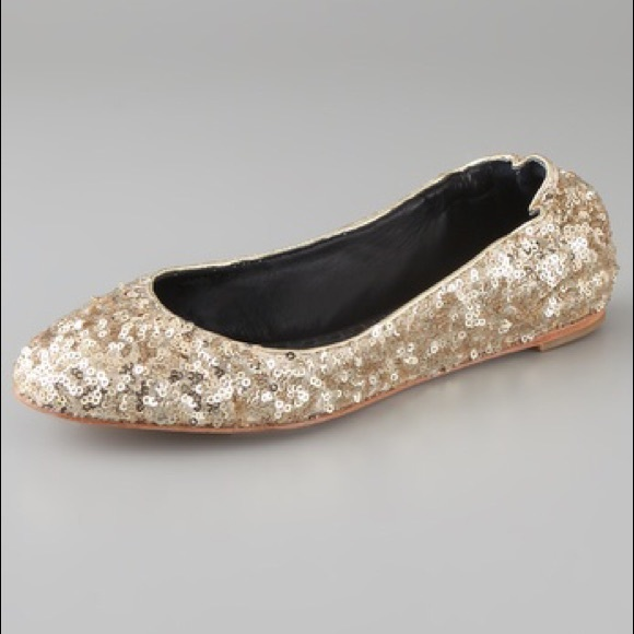947da9a7a0c9c Alice + Olivia Shoes | Alice Olivia Gold Sequin Dahlia Ballet Flats ...